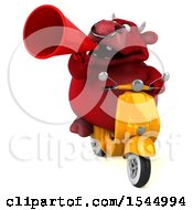 Clipart Of A 3d Red Bull Holding A  On A White Background Royalty Free Illustration