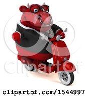 Clipart Of A 3d Red Business Bull Biker Riding A Chopper Motorcycle On A White Background Royalty Free Illustration