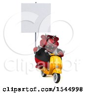 Clipart Of A 3d Red Business Bull Holding A  On A White Background Royalty Free Illustration