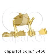 Two Gold People Carrying Their House Through A Neighborhood While Moving Their Home Clipart Illustration Image