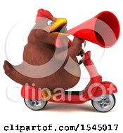 Clipart Of A 3d Chubby Brown Chicken Riding A Scooter On A White Background Royalty Free Illustration