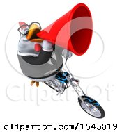 Clipart Of A 3d Chubby White Business Chicken Riding A Chopper Motorcycle On A White Background Royalty Free Illustration