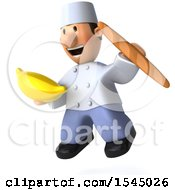 Clipart Of A 3d Short White Male Chef Holding A Banana On A White Background Royalty Free Illustration