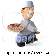 Clipart Of A 3d Short White Male Chef Holding A Pizza On A White Background Royalty Free Illustration