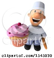 Clipart Of A 3d Short White Male Chef Holding A Cupcake On A White Background Royalty Free Illustration