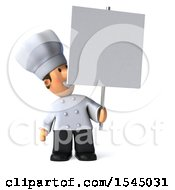 Clipart Of A 3d Short White Male Chef Holding A Sign On A White Background Royalty Free Illustration