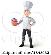 Clipart Of A 3d Young White Male Chef Holding A Cupcake On A White Background Royalty Free Illustration