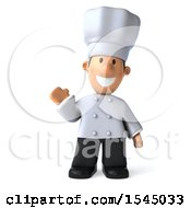Clipart Of A 3d Short White Male Chef Waving On A White Background Royalty Free Illustration