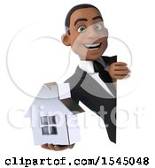 3d Black Business Man Holding A House On A White Background