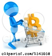 Clipart Of A 3d Blue Man With A Shopping Cart With A Bitcoin Currency Symbol On A White Background Royalty Free Illustration by Julos