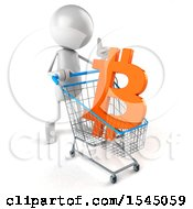 Clipart Of A 3d White Man With A Shopping Cart With A Bitcoin Currency Symbol On A White Background Royalty Free Illustration by Julos