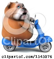 3d Bulldog Riding A Scooter On A White Background