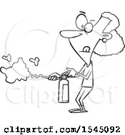 Black And White Woman Using A Fire Extinguisher