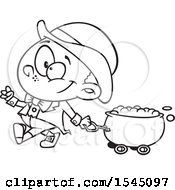 Clipart Of A Lineart Leprechaun Boy Pulling A St Patricks Day Gold Wagon Cauldron Royalty Free Vector Illustration