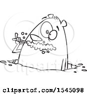 Clipart Of A Lineart Groundhog Brushing His Teeth Royalty Free Vector Illustration