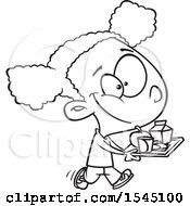 Clipart Of A Lineart Black Girl Carrying A Lunch Tray Royalty Free Vector Illustration