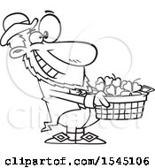 Clipart Of A Lineart Leprechaun Holding Out A Basket Of St Patricks Day Shamrocks Royalty Free Vector Illustration