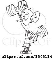Clipart Of A Lineart Strong Senior Woman Working Out With Dumbbells Royalty Free Vector Illustration