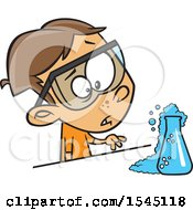 Clipart Of A Cartoon Brunette White Boy Witnessing A Chemical Reaction In Science Class Royalty Free Vector Illustration