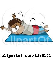 Clipart Of A Cartoon Black Boy Performing A Pencil Roll Royalty Free Vector Illustration