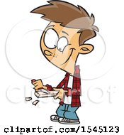 Clipart Of A Cartoon Brunette White Boy Whittling Wood Royalty Free Vector Illustration