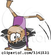 Clipart Of A Cartoon Girl Gymnast Doing A Cartwheel Royalty Free Vector Illustration