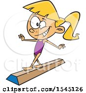 Clipart Of A Cartoon Girl Gymnasit On A Floor Beam Royalty Free Vector Illustration