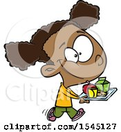 Clipart Of A Cartoon Black Girl Carrying A Lunch Tray Royalty Free Vector Illustration