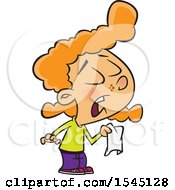 Clipart Of A Cartoon Red Haired Caucasian Girl Holding A Tissue And Sneezing Royalty Free Vector Illustration