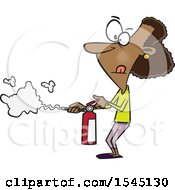 Clipart Of A Cartoon Black Woman Using A Fire Extinguisher Royalty Free Vector Illustration