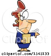 Clipart Of A Cartoon Angry Caucasian Boss Lady Holding A Folder And A Thumb Down Royalty Free Vector Illustration