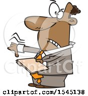 Cartoon Black Business Man Giving A Thumb Down And Holding A Folder