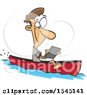 Clipart Of A Cartoon Caucasian Man Streaming Videos On His Tablet While Floating In A Boat Royalty Free Vector Illustration