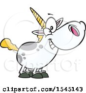 Clipart Of A Cartoon Happy Chubby Unicorn Royalty Free Vector Illustration by toonaday