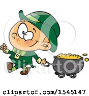 Clipart Of A Cartoon Leprechaun Boy Pulling A St Patricks Day Gold Wagon Cauldron Royalty Free Vector Illustration