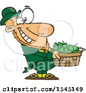 Clipart Of A Cartoon Leprechaun Holding Out A Basket Of St Patricks Day Shamrocks Royalty Free Vector Illustration by toonaday