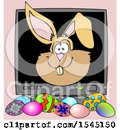 Poster, Art Print Of Bunny Rabbit Face Popping Out Of A Computer Screen Over Easter Eggs On Pink