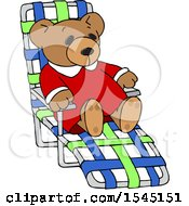 Clipart Of A Teddy Bear Relaxing On A Beach Chair Royalty Free Vector Illustration