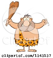 Caveman Waving A Fist And Club