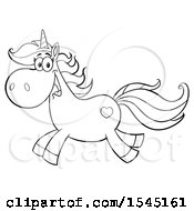 Clipart Of A Black And White Happy Running Unicorn With A Heart Marking Royalty Free Vector Illustration