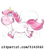 Clipart Of A Happy Running White And Pink Unicorn With Hearts Royalty Free Vector Illustration