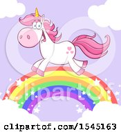 Happy Unicorn Running On A Rainbow