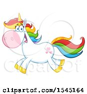 Clipart Of A Happy Colorful Running Unicorn With Hearts Royalty Free Vector Illustration by Hit Toon
