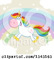 Happy Colorful Unicorn Flying Over A Rainbow