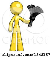 Yellow Design Mascot Woman Holding Feather Duster Facing Forward