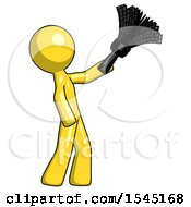 Yellow Design Mascot Man Dusting With Feather Duster Upwards