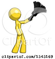 Yellow Design Mascot Woman Dusting With Feather Duster Upwards
