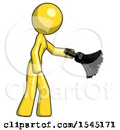 Yellow Design Mascot Woman Dusting With Feather Duster Downwards