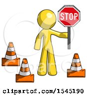 Yellow Design Mascot Man Holding Stop Sign By Traffic Cones Under Construction Concept