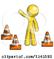 Yellow Design Mascot Man Standing By Traffic Cones Waving